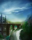Summer landscape with a castle royalty free illustration