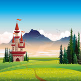 Summer landscape with castle and green field. Summer landscape with red castle, green field, spruce and mountain on a blue sky background Stock Photography