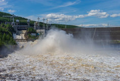 Summer landscape with Chernishevskaya hydro electric station, located on the Viluy River in Yakutia, Russia Royalty Free Stock Photo