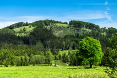 Summer landscape with clear blue sky and hill Royalty Free Stock Photography