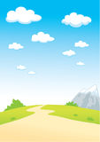 Summer_Landscape_with_Clouds. _and _oad Stock Illustration
