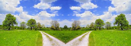 Summer landscape and cross road stock photo