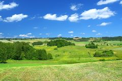 Summer landscape with cumulus clouds Stock Photography