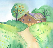 Summer landscape with cute little house Stock Photos