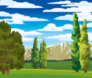 Summer landscape with cypress and meadow. Summer green landscape with cypress, meadow and mountains on a blue cloudy sky Stock Photos