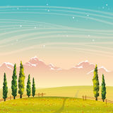 Summer landscape - cypress, mountains, field, flowers. Night sky. Summer vector landscape with green cypress, field with red flowers and mountains on a night Stock Photos