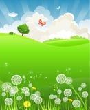 Summer landscape with dandelion Stock Photo
