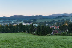 Summer landscape and the dark blue sky with sunset in mountains royalty free stock photos