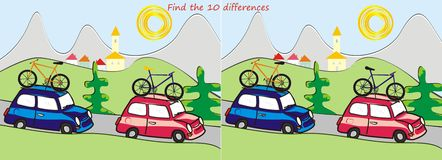Summer landscape,10 differences. Search the ten differences in the pictures - red and blue car ride summer landscape Royalty Free Stock Photo
