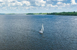 Summer landscape with Dnepr river. In Dnepropetrovsk city, Ukraine stock photo