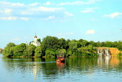 Summer landscape of the Dnieper River and Monastery Island in Dnipro city, Ukraine. Stock Photos