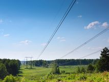 Summer landscape with electrical   lines Stock Image