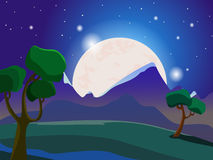 Summer landscape. Evening landscape. Starry sky. The moon in the sky. Trees in the meadow. Vector background Stock Photos