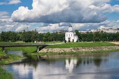 The Church of St.Michael the Grand Prince of Tver, who is known as heavenly patron of city of Tver, Russia, Tver. Summer landscape evokes admiration by cheerful Royalty Free Stock Photos