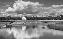 Monochrome image. Fascinating riverside scenery of the Tmaka River near its joining the river Volga. The City Of Tver, Russia. Stock Photography