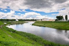 Fascinating riverside scenery of the Tmaka River near its joining the river Volga. The City Of Tver, Russia. Stock Photos