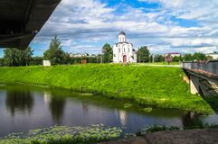 The Church of St.Michael the Grand Prince of Tver, who is known as heavenly patron of city of Tver, Russia, Tver. Summer landscape evokes admiration by cheerful Royalty Free Stock Images