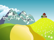 Summer landscape with fields, church, tree and mou. Vector illustration of summer landscape with fields and snowy mountains on a blue sky with clouds Stock Images