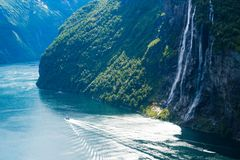 Summer landscape with fjord and waterfall, Norway Royalty Free Stock Photography