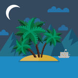 Summer landscape in flat style at night Royalty Free Stock Photos