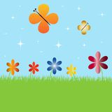 Summer landscape with flowers and butterflies. Illustration Stock Image