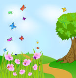 Summer landscape with flowers and butterflies. Vector  illustration Stock Photos