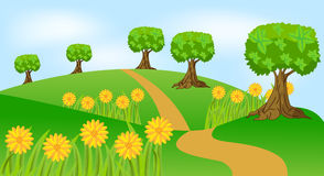 Summer landscape with flowers. Vector  illustration Stock Photo