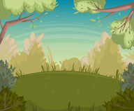 Summer landscape. Forest clearing with trees and bushes. Cartoon vector illustration royalty free illustration