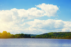 Summer landscape with forest lake. And blue sky Royalty Free Stock Photos
