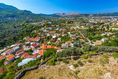 Summer landscape in Fortress Old Bar Town, Montenegro stock photo