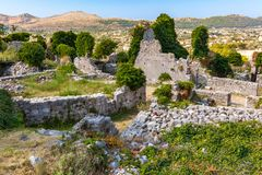 Summer landscape in Fortress Old Bar Town, Montenegro royalty free stock photo