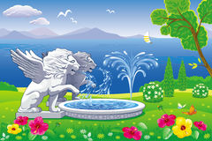 Summer landscape with a fountain and statues of lions. Vector beautiful landscape with a fountain and statues of lions on sea background Stock Illustration