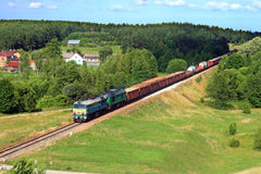 Summer landscape with the freight train Royalty Free Stock Photography