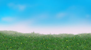 Summer landscape. Fresh green grass and light blue sky in morning. Poster for Art, web, print, wallpaper, greeting card, textile, fashion, fabric, texture royalty free illustration
