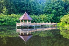 Summer Landscape Gazebo on Lake Vienna VA Royalty Free Stock Image