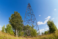 Summer landscape with geodetic point Stock Images