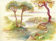 Summer Landscape with goats watercolor illustration Stock Photos