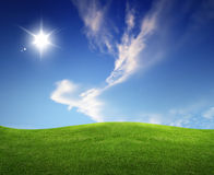 Summer landscape green fields and beautiful sky Royalty Free Stock Photos