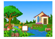 Summer landscape with green forest, blossom field, mountains and house with red roof on a blue cloudy sky. Illustration of Summer landscape with green forest Stock Photography