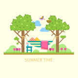 Summer landscape with a hammock. Trees, flowers, birds. Vector  flat illustration Royalty Free Stock Photo