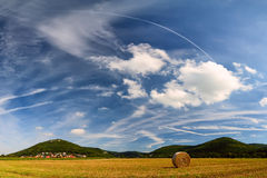 Summer landscape with harvest field Royalty Free Stock Photography