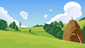 Summer landscape with a haystack illustration Royalty Free Stock Images