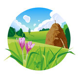 Summer landscape with a haystack illustration Stock Photos