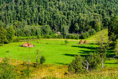 Summer landscape with haystacks in the mountains Royalty Free Stock Photos