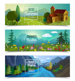 Summer landscape horizontal banners set Royalty Free Stock Images