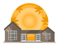 Summer Landscape With House, Shiny sun and Palm Trees in Flat Design. Stock Photo