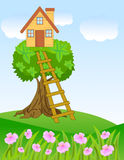 Summer landscape with a house on a tree and flowers Royalty Free Stock Photos
