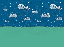 Summer landscape Illustration with clouds in flat style. Royalty Free Stock Photography