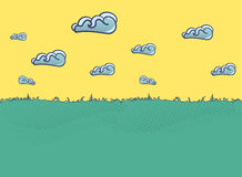 Summer landscape Illustration with clouds in flat style. Stock Image