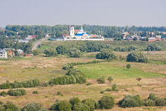 Summer landscape, kind from a tower, city Suzdal Royalty Free Stock Photos